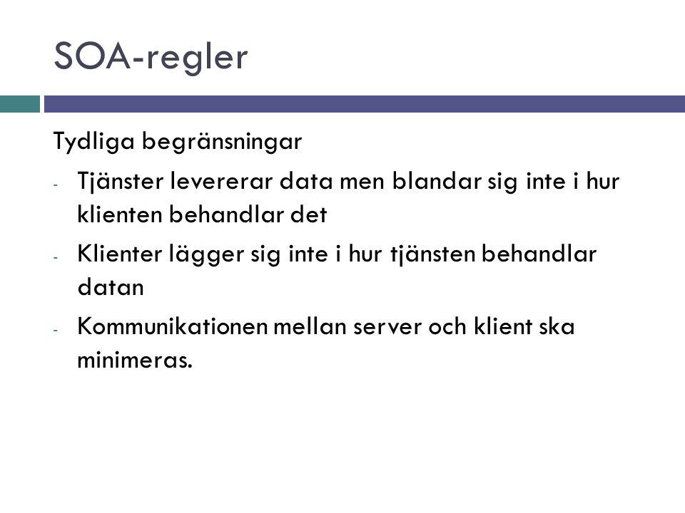 SOA-regler Tydliga begränsningar - Tjänster levererar data men blandar sig inte i hur klienten behandlar det - Klienter lägger sig inte i hur tjänsten behandlar datan - Kommunikationen mellan server och klient ska minimeras.