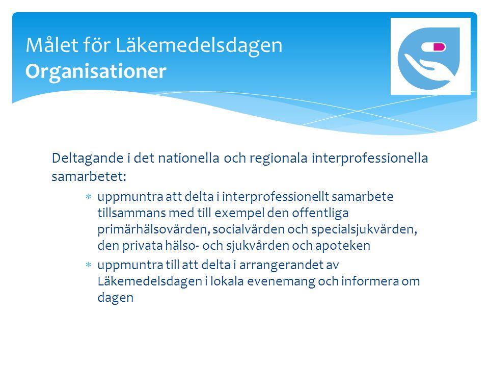 Deltagande i det nationella och regionala interprofessionella samarbetet:  uppmuntra att delta i interprofessionellt samarbete tillsammans med till exempel den offentliga primärhälsovården, socialvården och specialsjukvården, den privata hälso- och sjukvården och apoteken  uppmuntra till att delta i arrangerandet av Läkemedelsdagen i lokala evenemang och informera om dagen Målet för Läkemedelsdagen Organisationer