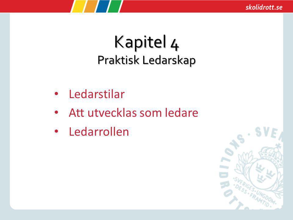 Kapitel 4 Praktisk Ledarskap Ledarstilar Att utvecklas som ledare Ledarrollen