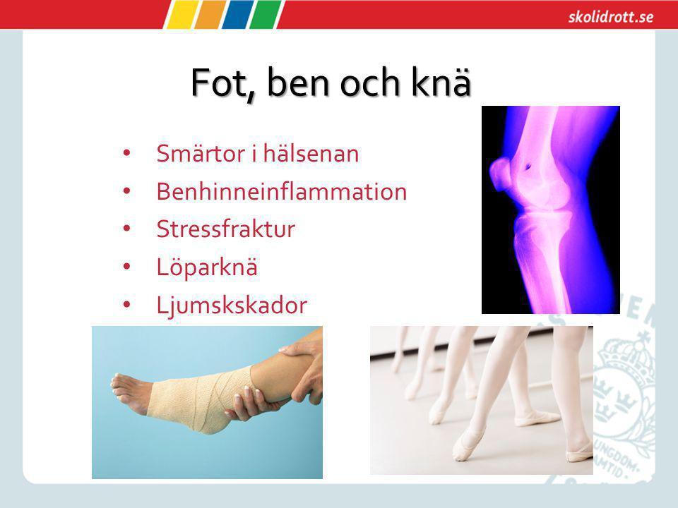Fot, ben och knä Smärtor i hälsenan Benhinneinflammation Stressfraktur Löparknä Ljumskskador