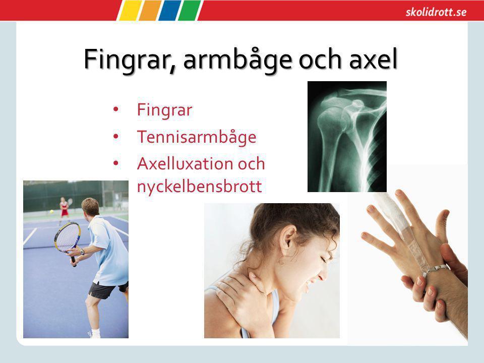 Fingrar, armbåge och axel Fingrar Tennisarmbåge Axelluxation och nyckelbensbrott