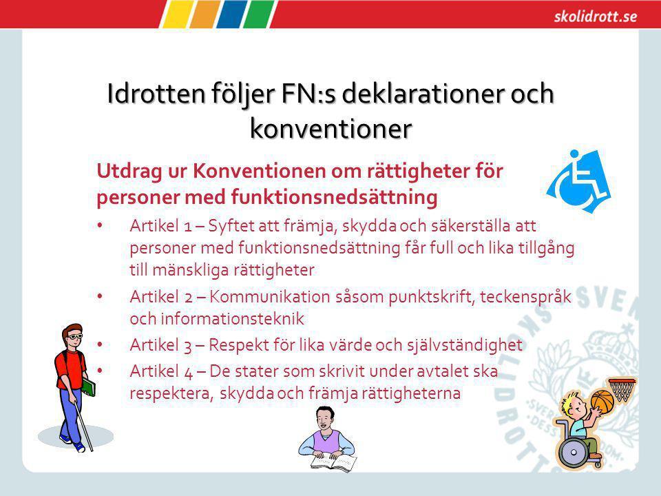 Idrotten följer FN:s deklarationer och konventioner Utdrag ur Konventionen om rättigheter för personer med funktionsnedsättning Artikel 1 – Syftet att