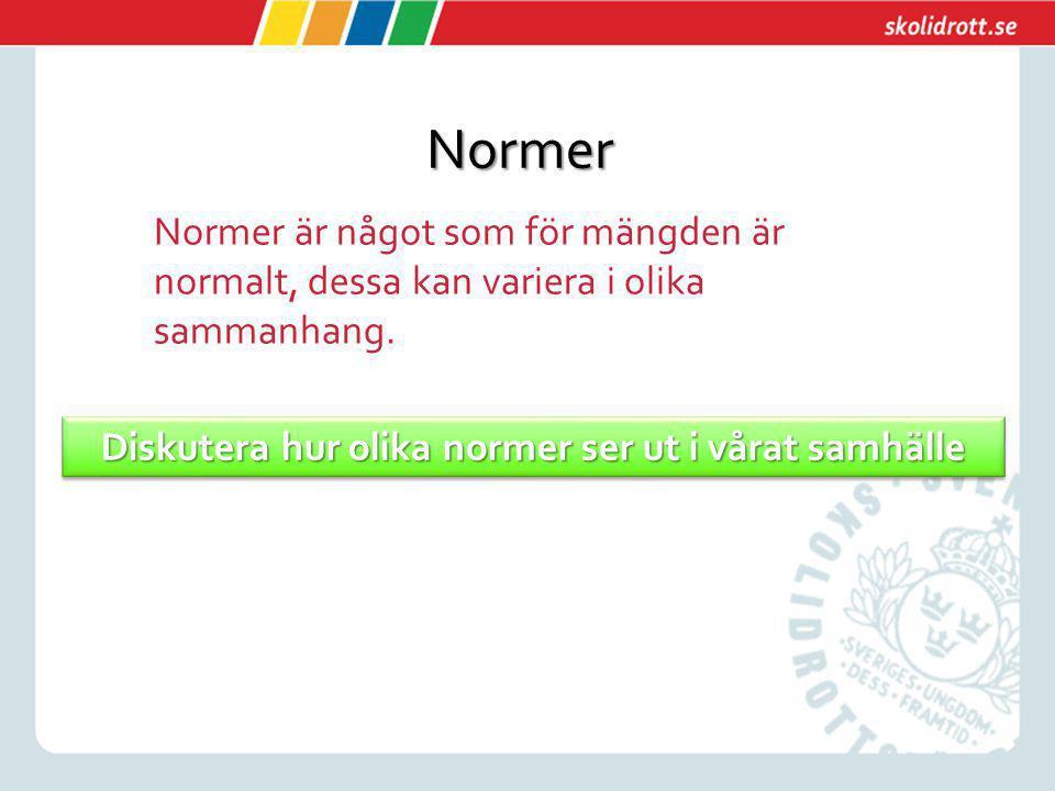 Normer Normer är något som för mängden är normalt, dessa kan variera i olika sammanhang. Diskutera hur olika normer ser ut i vårat samhälle