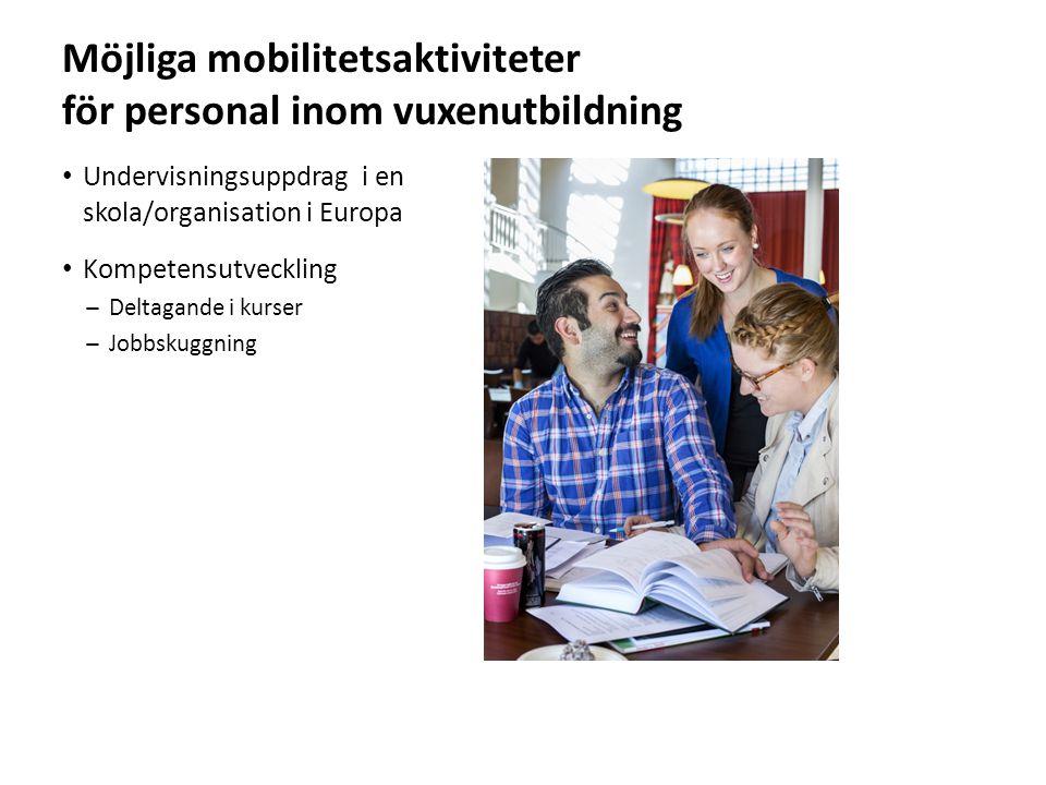 Sv Möjliga mobilitetsaktiviteter för personal inom vuxenutbildning Undervisningsuppdrag i en skola/organisation i Europa Kompetensutveckling ̶Deltagande i kurser ̶Jobbskuggning
