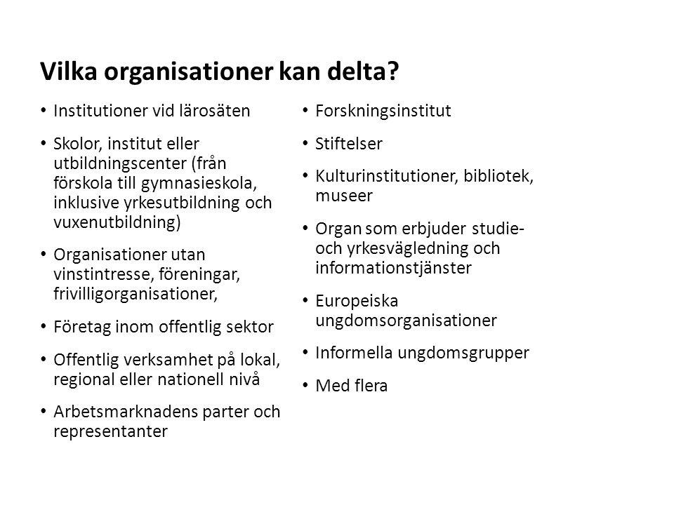 Sv Vilka organisationer kan delta.