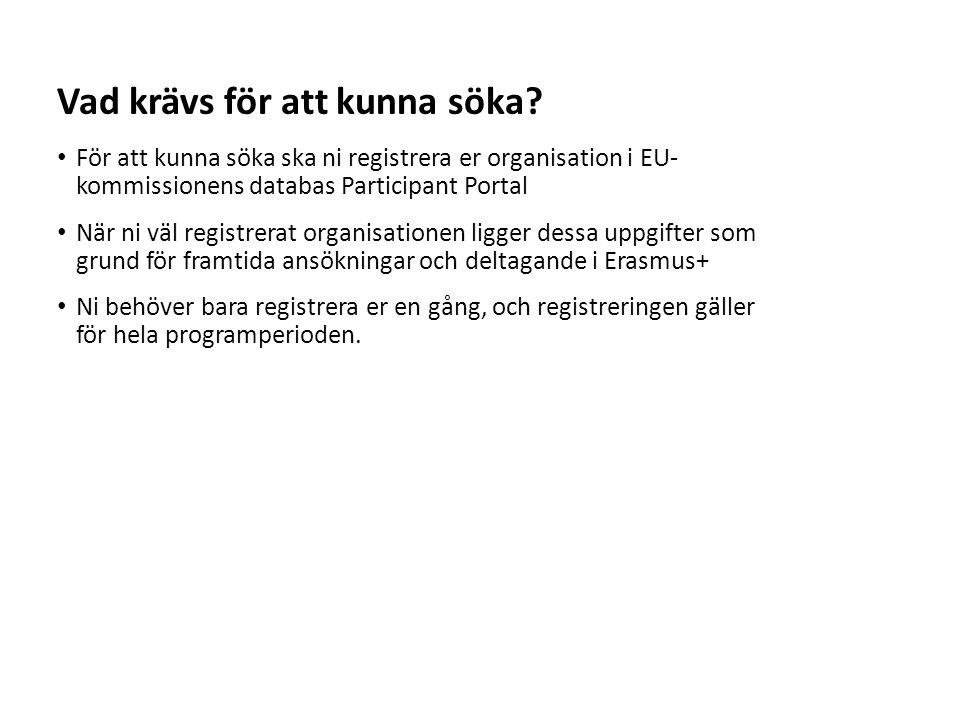 Sv För att kunna söka ska ni registrera er organisation i EU- kommissionens databas Participant Portal När ni väl registrerat organisationen ligger dessa uppgifter som grund för framtida ansökningar och deltagande i Erasmus+ Ni behöver bara registrera er en gång, och registreringen gäller för hela programperioden.