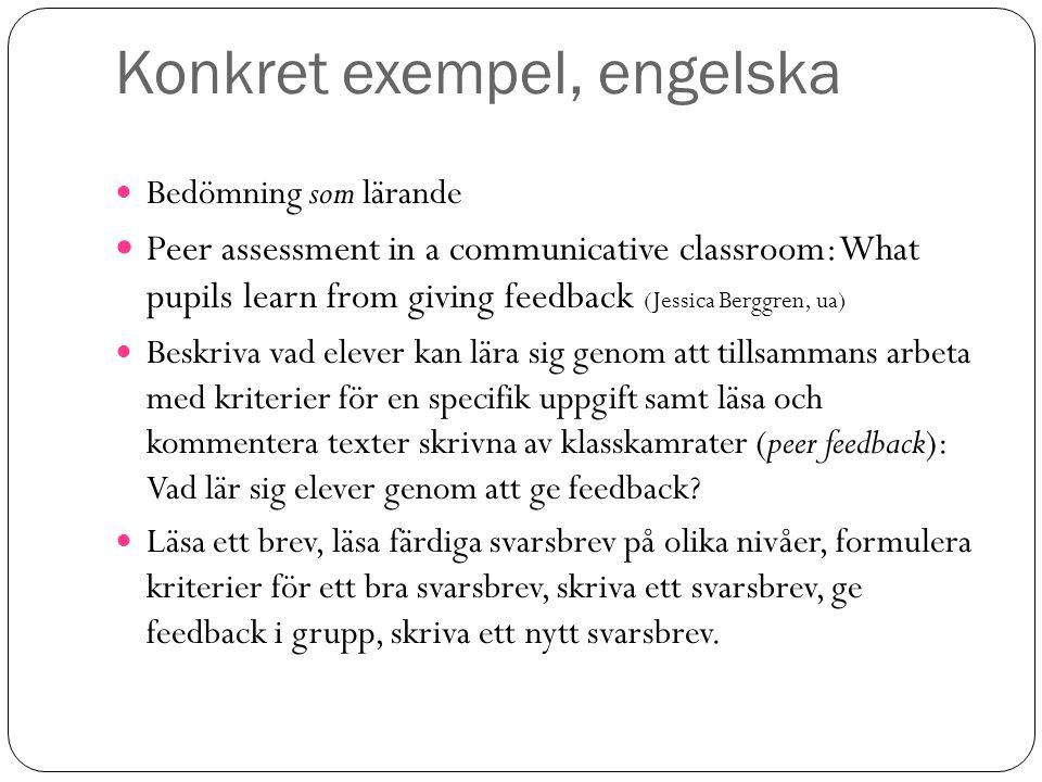 Konkret exempel, engelska Bedömning som lärande Peer assessment in a communicative classroom: What pupils learn from giving feedback (Jessica Berggren