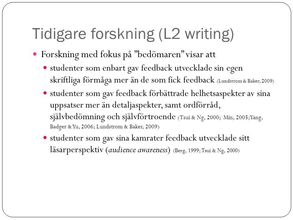 """Tidigare forskning (L2 writing) Forskning med fokus på """"bedömaren"""" visar att studenter som enbart gav feedback utvecklade sin egen skriftliga förmåga"""