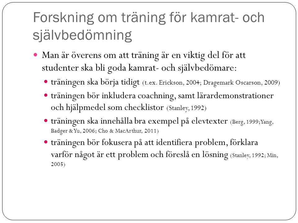 Forskning om träning för kamrat- och självbedömning Man är överens om att träning är en viktig del för att studenter ska bli goda kamrat- och självbed