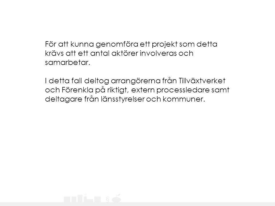 För att kunna genomföra ett projekt som detta krävs att ett antal aktörer involveras och samarbetar. I detta fall deltog arrangörerna från Tillväxtver