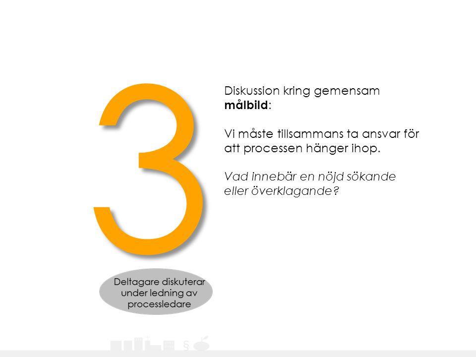 Diskussion kring gemensam målbild : Vi måste tillsammans ta ansvar för att processen hänger ihop. Vad innebär en nöjd sökande eller överklagande? 3