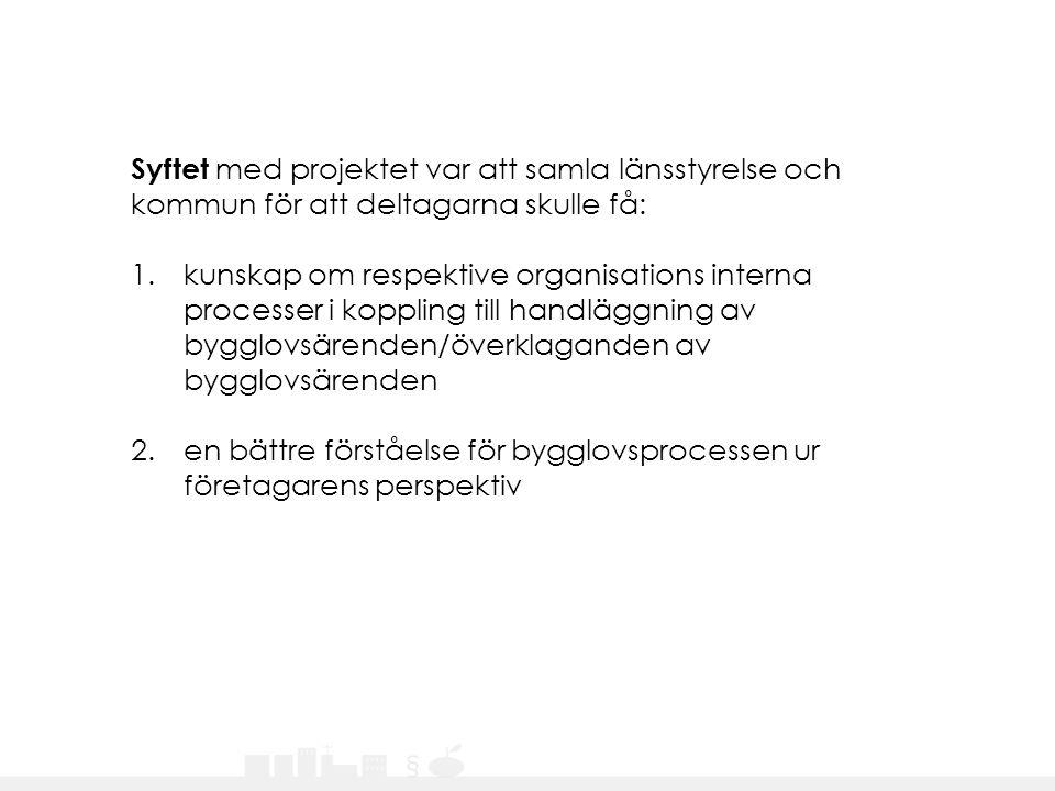 Syftet med projektet var att samla länsstyrelse och kommun för att deltagarna skulle få: 1.kunskap om respektive organisations interna processer i kop