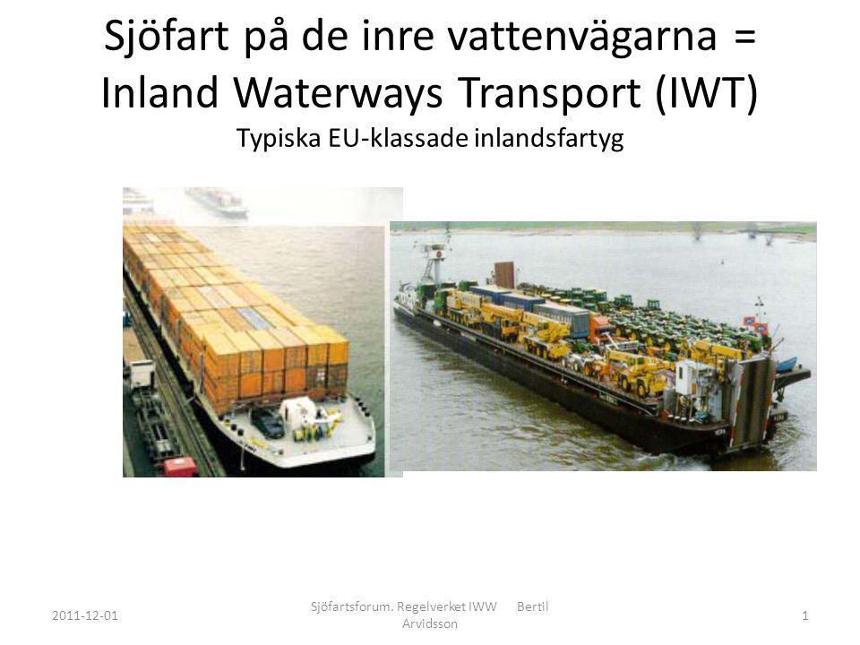 Sjöfart på de inre vattenvägarna = Inland Waterways Transport (IWT) Typiska EU-klassade inlandsfartyg 2011-12-01 Sjöfartsforum.
