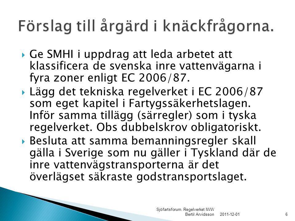  Ge SMHI i uppdrag att leda arbetet att klassificera de svenska inre vattenvägarna i fyra zoner enligt EC 2006/87.