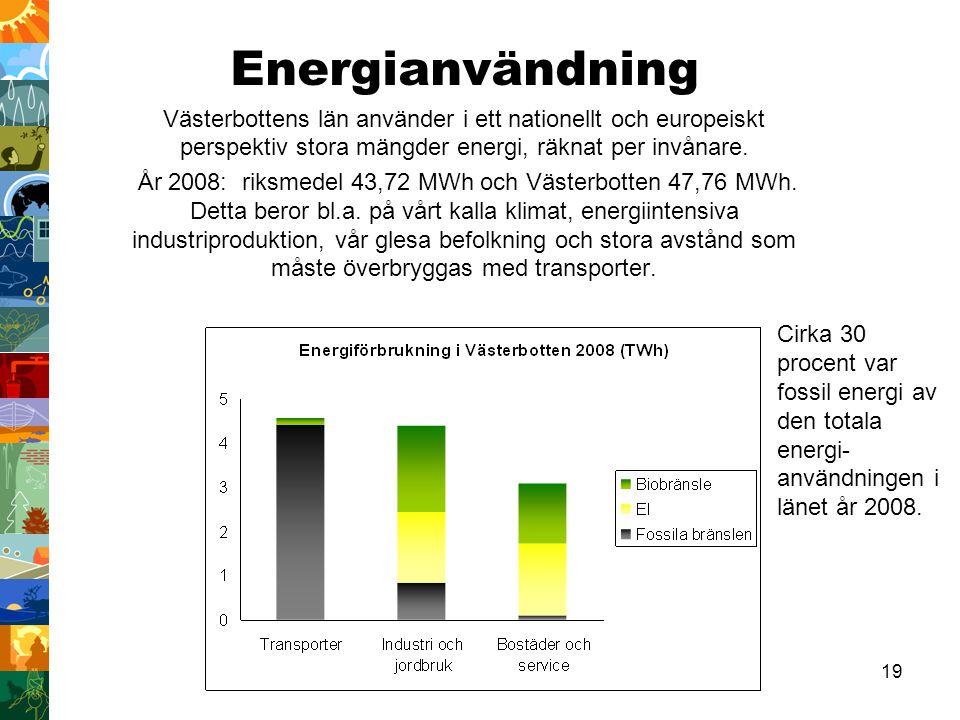 19 Energianvändning Västerbottens län använder i ett nationellt och europeiskt perspektiv stora mängder energi, räknat per invånare. År 2008: riksmede