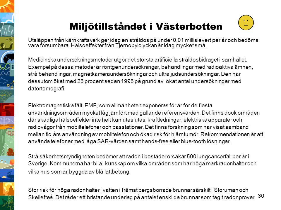 30 Miljötillståndet i Västerbotten Utsläppen från kärnkraftsverk ger idag en stråldos på under 0,01 millisievert per år och bedöms vara försumbara. Hä