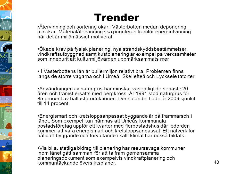 40 Trender Återvinning och sortering ökar i Västerbotten medan deponering minskar. Materialåtervinning ska prioriteras framför energiutvinning när det