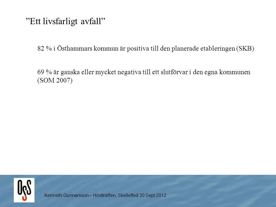 """Kenneth Gunnarsson – Höstträffen, Skellefteå 30 Sept 2012 """"Ett livsfarligt avfall"""" 69 % är ganska eller mycket negativa till ett slutförvar i den egna"""
