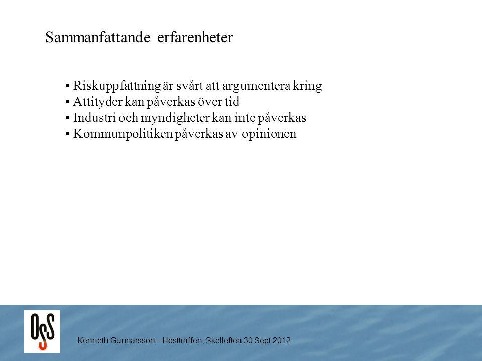 Kenneth Gunnarsson – Höstträffen, Skellefteå 30 Sept 2012 Sammanfattande erfarenheter Riskuppfattning är svårt att argumentera kring Attityder kan påv