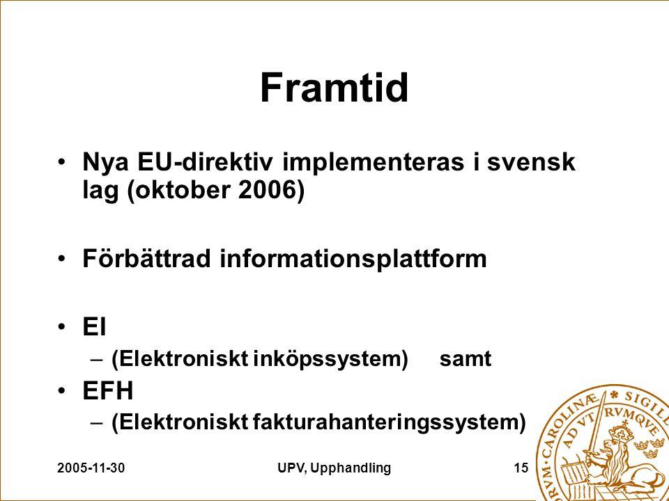 2005-11-30UPV, Upphandling15 Framtid Nya EU-direktiv implementeras i svensk lag (oktober 2006) Förbättrad informationsplattform EI –(Elektroniskt inkö