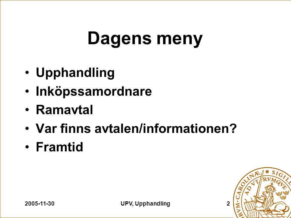 2005-11-30UPV, Upphandling2 Dagens meny Upphandling Inköpssamordnare Ramavtal Var finns avtalen/informationen? Framtid