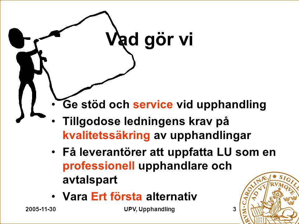 2005-11-30UPV, Upphandling3 Vad gör vi Ge stöd och service vid upphandling Tillgodose ledningens krav på kvalitetssäkring av upphandlingar Få leverant