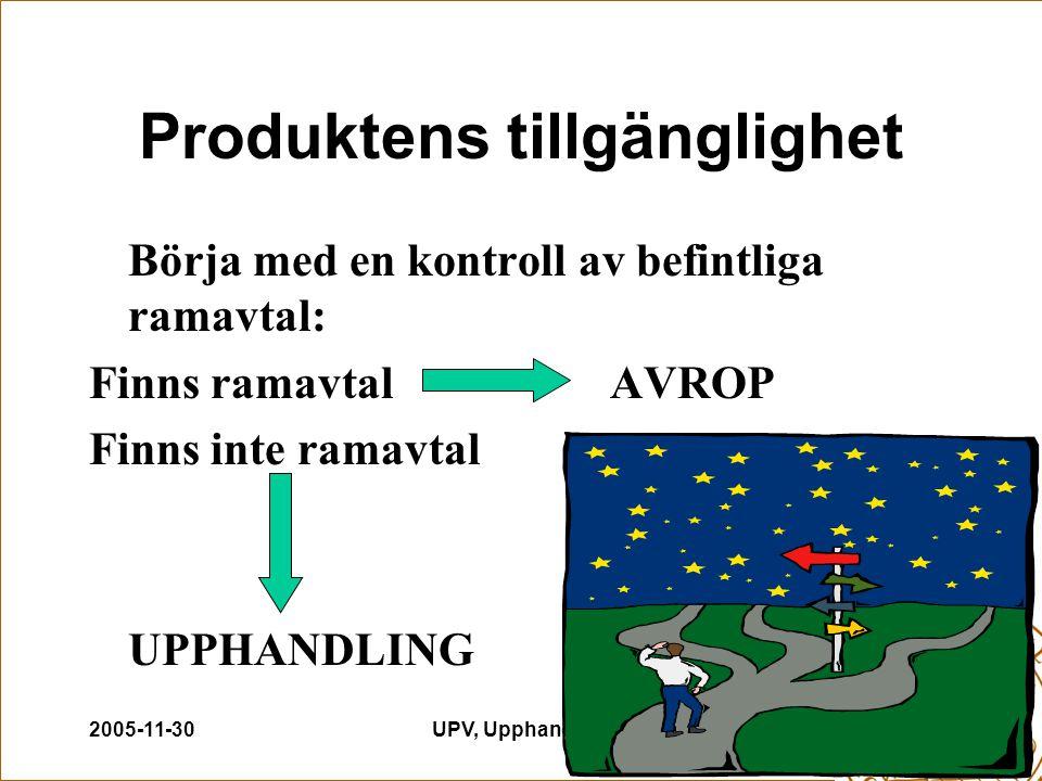 2005-11-30UPV, Upphandling6 Produktens tillgänglighet Börja med en kontroll av befintliga ramavtal: Finns ramavtalAVROP Finns inte ramavtal UPPHANDLIN