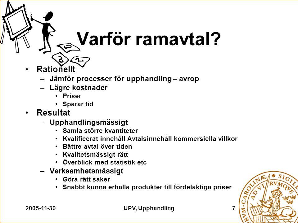2005-11-30UPV, Upphandling7 Varför ramavtal? Rationellt –Jämför processer för upphandling – avrop –Lägre kostnader Priser Sparar tid Resultat –Upphand