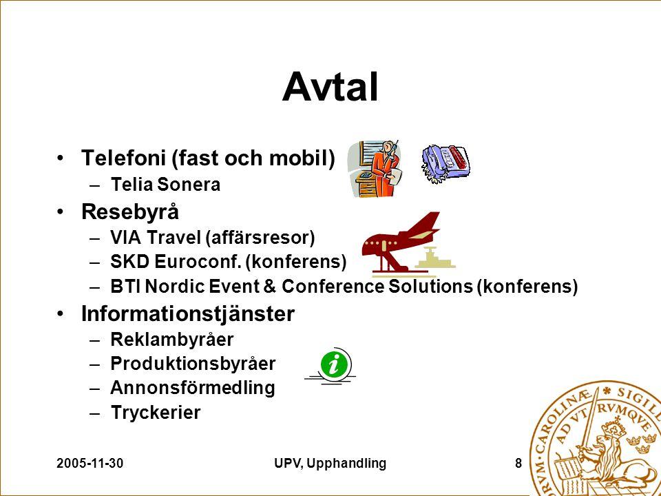 2005-11-30UPV, Upphandling8 Avtal Telefoni (fast och mobil) –Telia Sonera Resebyrå –VIA Travel (affärsresor) –SKD Euroconf. (konferens) –BTI Nordic Ev