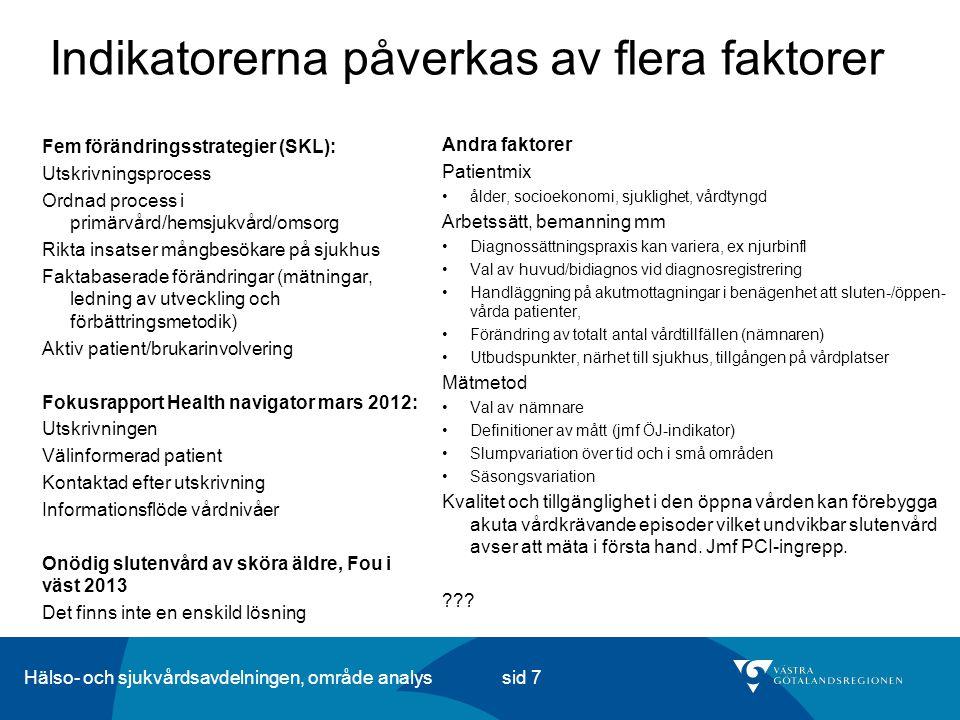 Hälso- och sjukvårdsavdelningen, område analys sid 8 Västra Götaland