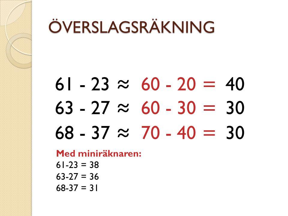ÖVERSLAGSRÄKNING 61 - 23 ≈ 60 - 20 = 40 63 - 27 ≈ 60 - 30 = 30 68 - 37 ≈ 70 - 40 = 30 Med miniräknaren: 61-23 = 38 63-27 = 36 68-37 = 31