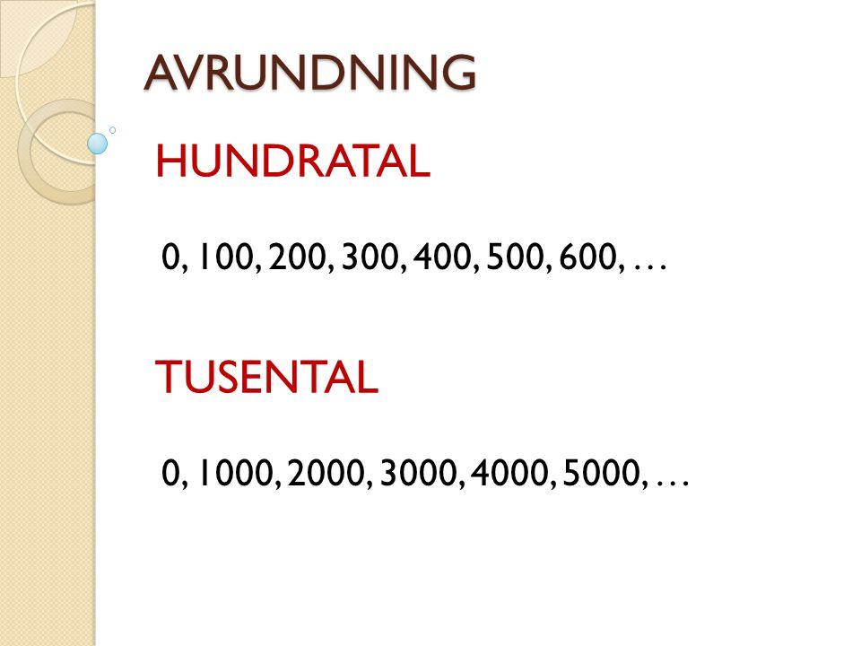 AVRUNDNING HUNDRATAL 0, 100, 200, 300, 400, 500, 600, … TUSENTAL 0, 1000, 2000, 3000, 4000, 5000, …