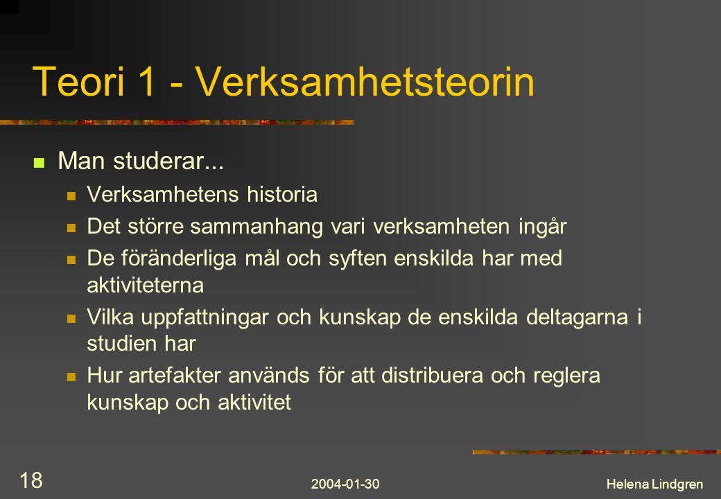 2004-01-30Helena Lindgren 18 Teori 1 - Verksamhetsteorin Man studerar...