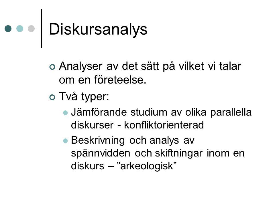Diskursanalys Analyser av det sätt på vilket vi talar om en företeelse.