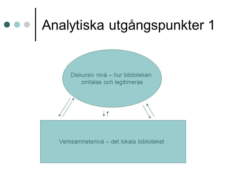 Analytiska utgångspunkter 1 Verksamhetsnivå – det lokala biblioteket Diskursiv nivå – hur biblioteken omtalas och legitimeras