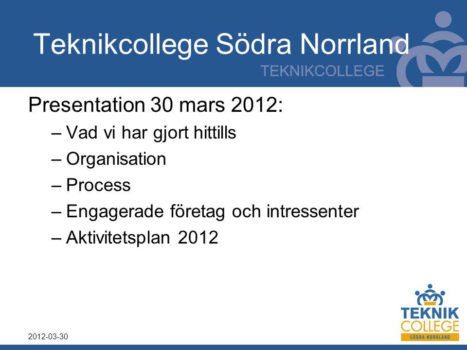 Teknikcollege Södra Norrland Presentation 30 mars 2012: –Vad vi har gjort hittills –Organisation –Process –Engagerade företag och intressenter –Aktivi