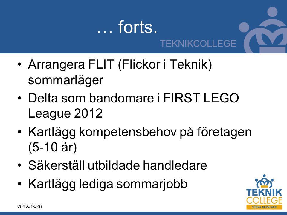 … forts. Arrangera FLIT (Flickor i Teknik) sommarläger Delta som bandomare i FIRST LEGO League 2012 Kartlägg kompetensbehov på företagen (5-10 år) Säk