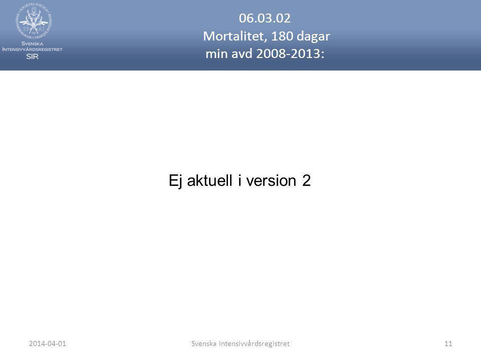 2014-04-01Svenska Intensivvårdsregistret11 06.03.02 Mortalitet, 180 dagar min avd 2008-2013: Ej aktuell i version 2