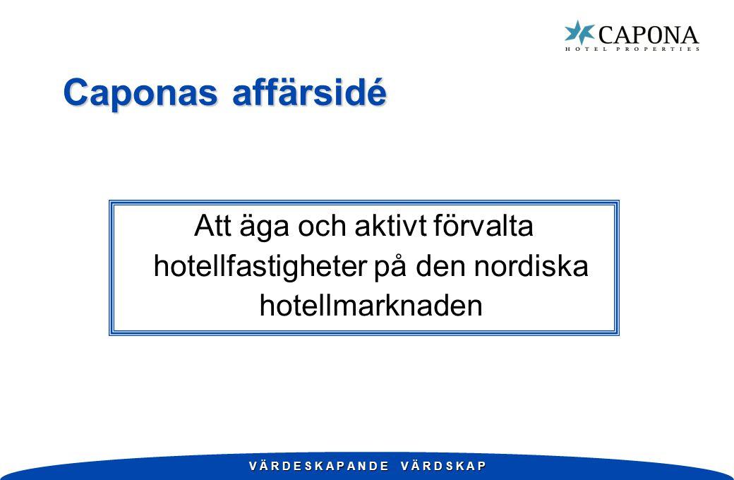 V Ä R D E S K A P A N D E V Ä R D S K A P Caponas affärsidé Att äga och aktivt förvalta hotellfastigheter på den nordiska hotellmarknaden