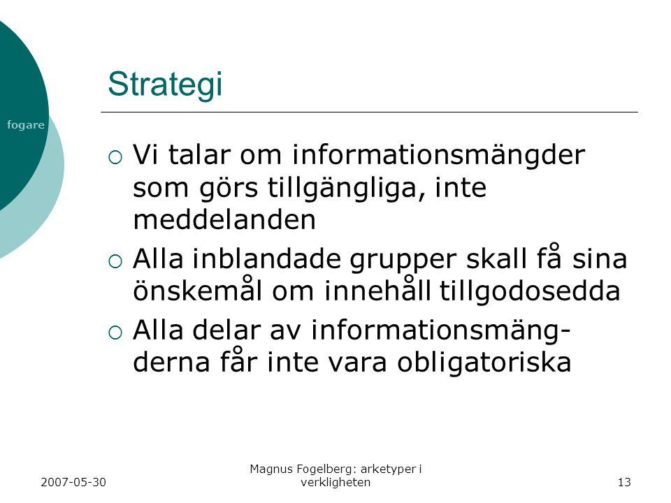 fogare 2007-05-30 Magnus Fogelberg: arketyper i verkligheten13 Strategi  Vi talar om informationsmängder som görs tillgängliga, inte meddelanden  Al