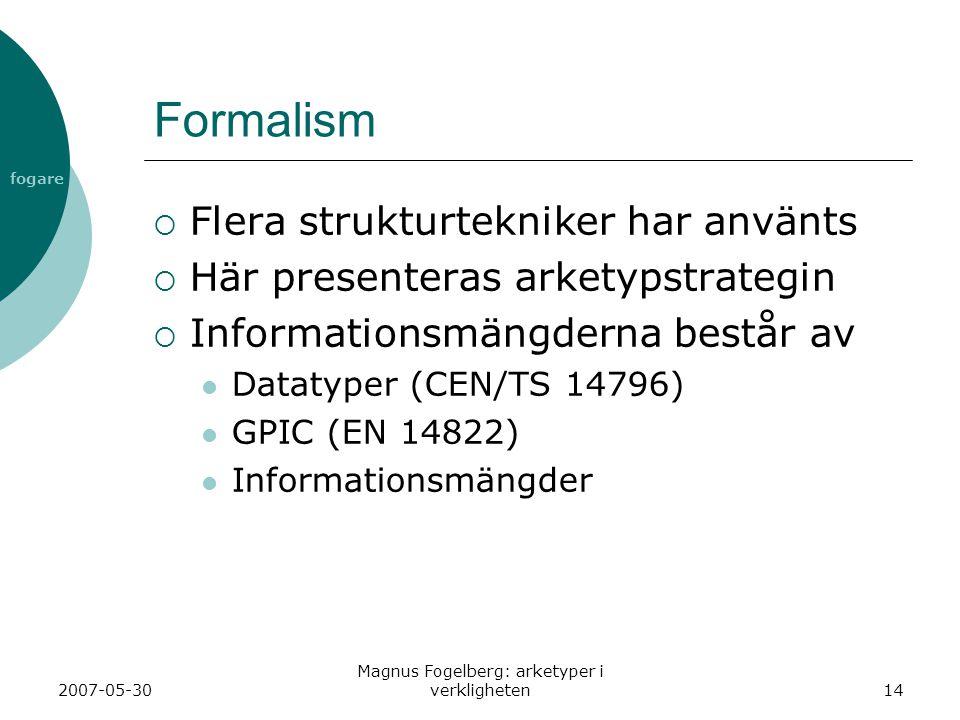 fogare 2007-05-30 Magnus Fogelberg: arketyper i verkligheten14 Formalism  Flera strukturtekniker har använts  Här presenteras arketypstrategin  Inf