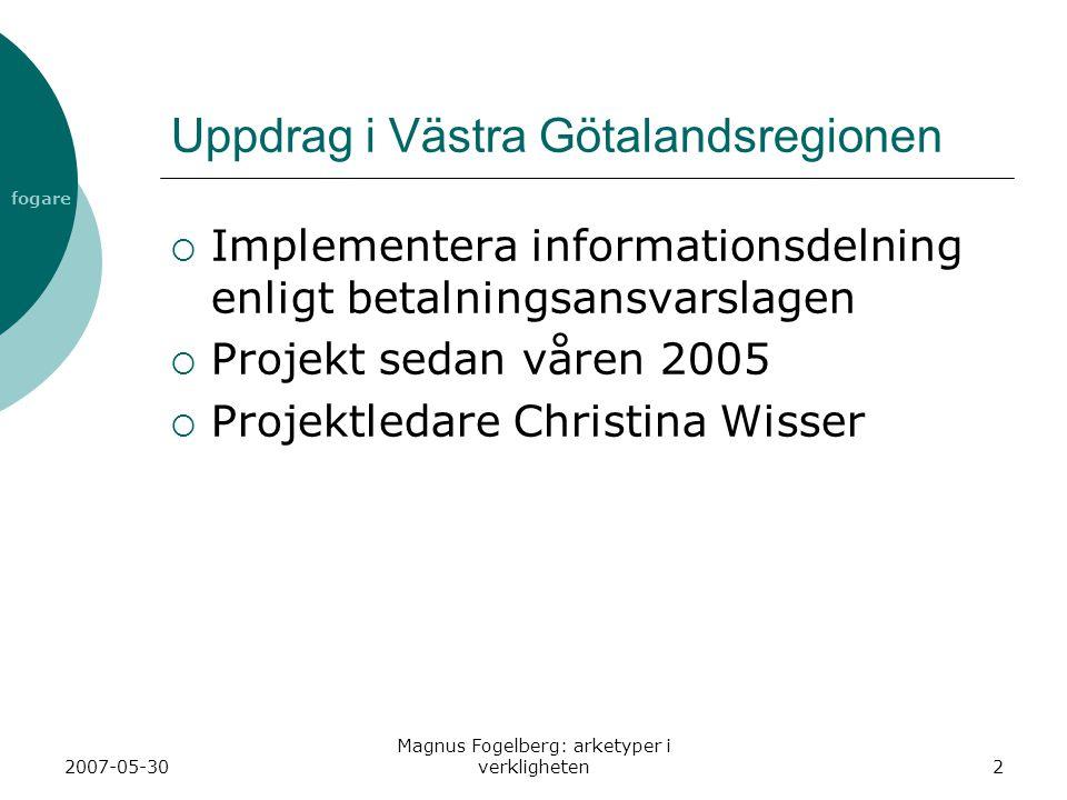 fogare 2007-05-30 Magnus Fogelberg: arketyper i verkligheten2 Uppdrag i Västra Götalandsregionen  Implementera informationsdelning enligt betalningsansvarslagen  Projekt sedan våren 2005  Projektledare Christina Wisser