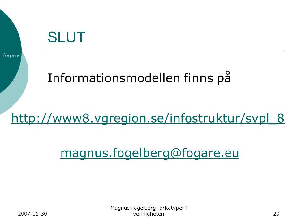 fogare 2007-05-30 Magnus Fogelberg: arketyper i verkligheten23 SLUT http://www8.vgregion.se/infostruktur/svpl_8 magnus.fogelberg@fogare.eu Informationsmodellen finns på