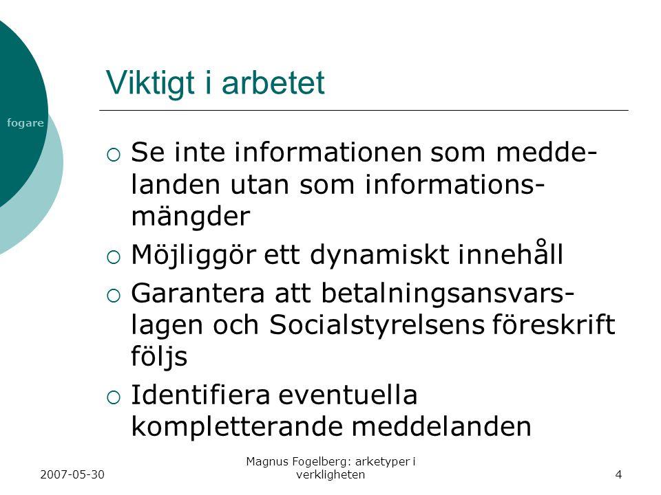 fogare 2007-05-30 Magnus Fogelberg: arketyper i verkligheten4 Viktigt i arbetet  Se inte informationen som medde- landen utan som informations- mängd
