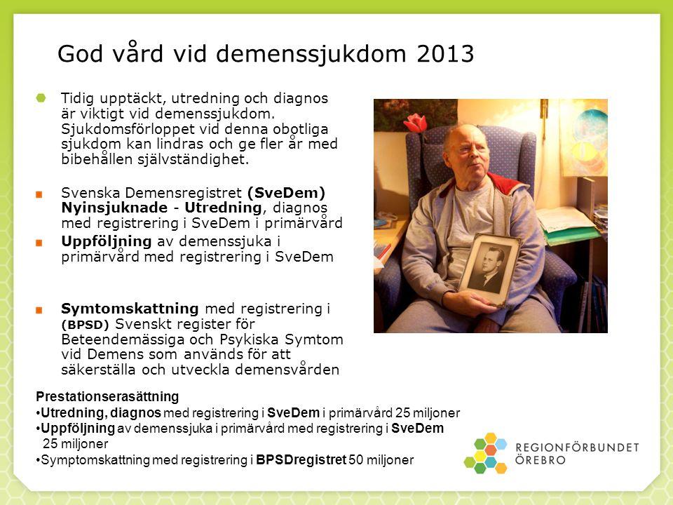 God vård vid demenssjukdom 2013 Tidig upptäckt, utredning och diagnos är viktigt vid demenssjukdom. Sjukdomsförloppet vid denna obotliga sjukdom kan l