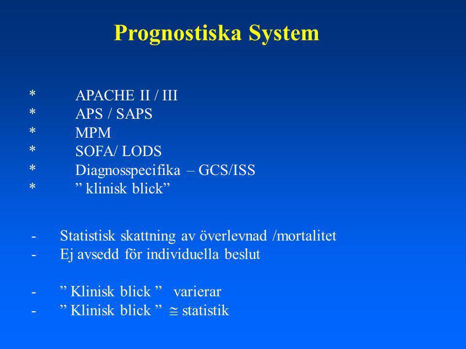 Prognostiska System *APACHE II / III *APS / SAPS *MPM * SOFA/ LODS * Diagnosspecifika – GCS/ISS * klinisk blick - Statistisk skattning av överlevnad /mortalitet - Ej avsedd för individuella beslut - Klinisk blick varierar - Klinisk blick  statistik