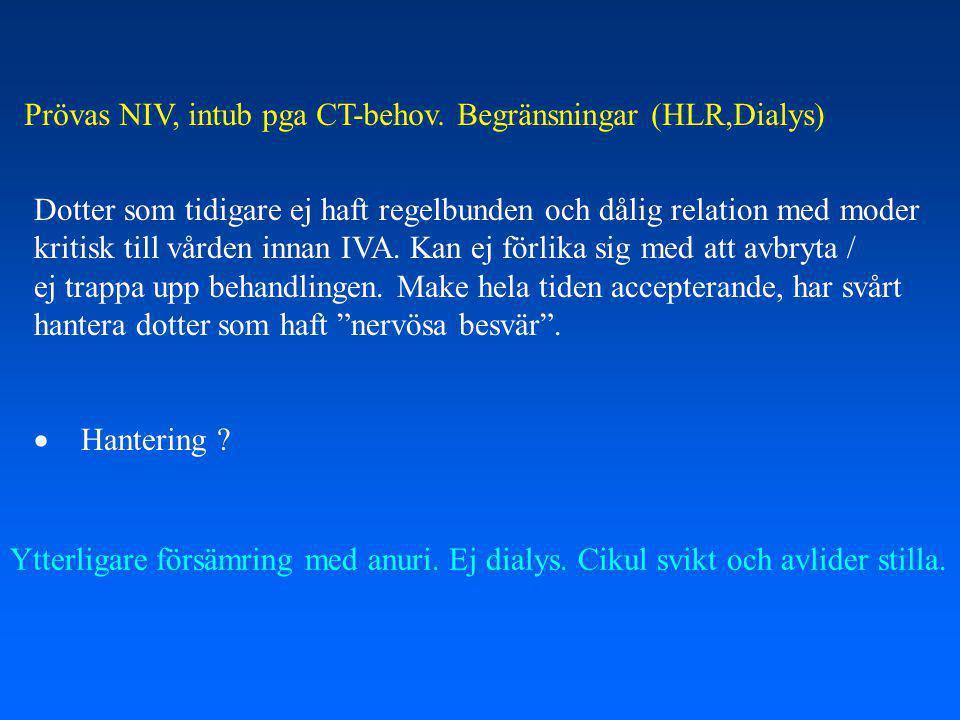 Prövas NIV, intub pga CT-behov.Begränsningar (HLR,Dialys) Ytterligare försämring med anuri.
