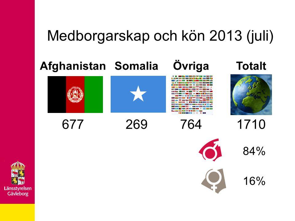 AfghanistanSomaliaÖvrigaTotalt 6772697641710 84% 16% Medborgarskap och kön 2013 (juli)