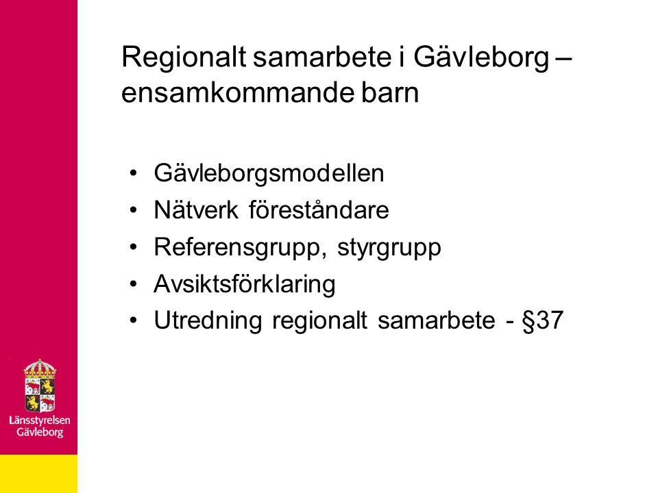 Regionalt samarbete i Gävleborg – ensamkommande barn Gävleborgsmodellen Nätverk föreståndare Referensgrupp, styrgrupp Avsiktsförklaring Utredning regi