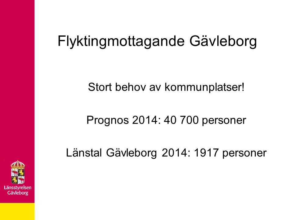 Flyktingmottagande Gävleborg Stort behov av kommunplatser! Prognos 2014: 40 700 personer Länstal Gävleborg 2014: 1917 personer